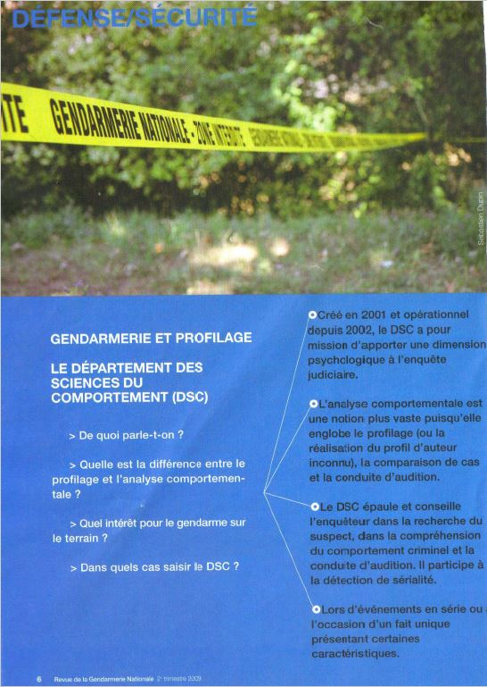 Le profilage - Departement science comportement gendarmerie